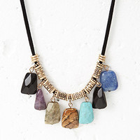 Beaded Faux Stone Cord Necklace
