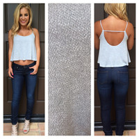 Powder Blue Knit Mila Crop Tank