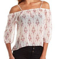 Sheer Printed Off-the-Shoulder Top by Charlotte Russe - Ivory Combo