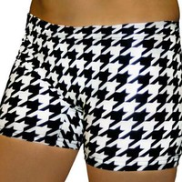 Black & White Checkers Houndstooth Printed Spandex Compression Short