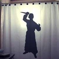 Crazy Psycho SHOWER CURTAIN Scary Halloween Horror Killer Stab with Knife
