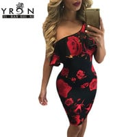 Spring 2017 Women Clothing Red Rose Floral Print Dresses Summer One Ruffle Shoulder Vintage Bodycon Dress vestidos Retro LC61155