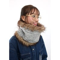 Faux Fur Lining Cable Knit Snood