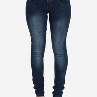Dark Blue Faded Skinny Jeans