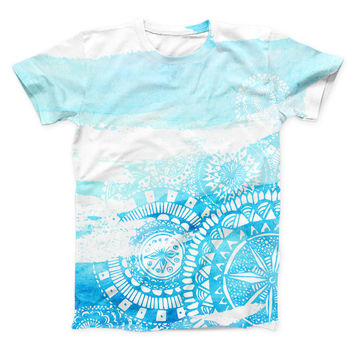 The Vivid Blue Abstract Washed ink-Fuzed Unisex All Over Full-Printed Fitted Tee Shirt