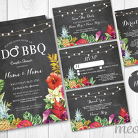 Wedding Invitations Chalk Aloha I Do BBQ Floral Set Template Package Printable Invites Save The Date INSTANT DOWNLOAD Rsvp Rustic Editable