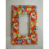 Sugar skull rocker switch plate retro Day of the Dead vintage Mexico kitsch