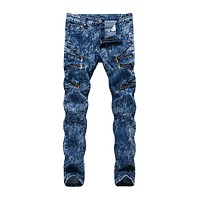 Casual Man Style Snowflake Slim Fit Straight Jeans with Zippers