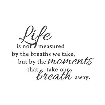 """wall quotes wall decals - """"Moments that take our breath away"""""""