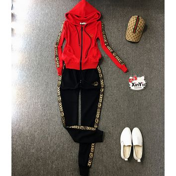 GUCCI Women Long Sleeve Shirt Sweater Pants Sweatpants Set Two-Piece