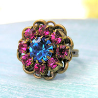 Vintage Rhinestone Cocktail Ring in Fuchsia and Azure