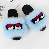 Hot Sale Women Casual Little Monsters Fur Flats Sandals Slipper Shoes