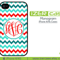Personalized iPhone 4 case Monogrammed iPhone 4s case iPhone 4 case iPhone cover Colorful Chevron Pattern