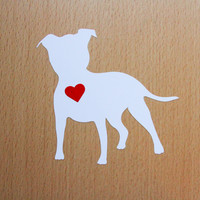 PIT BULL (terrier dog) dog vinyl decal - White with Red Heart. High quality vinyl Car stickers, laptop stickers and for other flat surfaces