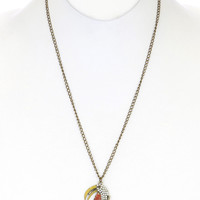 NECKLACE / TUCAN CHARMS / LINK / METAL / BURNISH / PEARL BEAD / EPOXY / ANIMAL / 2 INCH DROP / 28 INCH LONG / NICKEL AND LEAD COMPLIANT