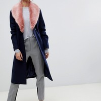 ASOS DESIGN detachable faux fur collar coat with tie belt at asos.com