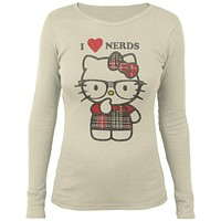 Hello Kitty - Nerdy In Plaid Juniors White Thermal