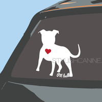 PIT BULL silhouette dog vinyl decal with (optional) red heart. High quality vinyl Car stickers, laptop stickers and for other flat surfaces