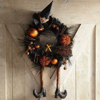Witch Hat & Broom Ornament Wreath - Orange