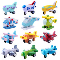 Wooden Airplane Toy Multi-pattern Mini Diecasts Kids Baby Educational Gift Baby Toys for Children Romly Sent