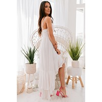 Date On The Beach Hi-Low Maxi Dress (Cream)