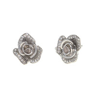 Dear Deer White Gold Plated CZ Pave Floral Flower Petal Stud Earrings