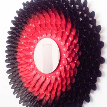 Handmade Black and Red Mirror - Made from plastic spoons