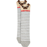 River Island Womens Grey novelty pug socks