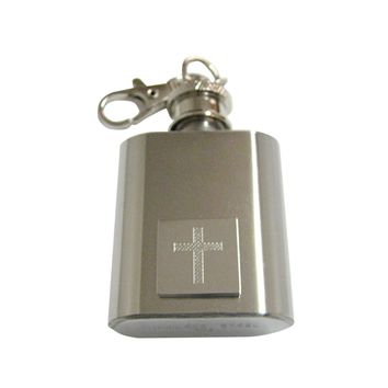 Silver Toned Etched Thick Religious Cross 1 Oz. Stainless Steel Key Chain Flask