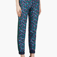 BLUE FLOWER PRINT CROPPED TROUSERS