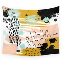 Society6 Ames Abstract Painting In Free Style Wit Wall Tapestry