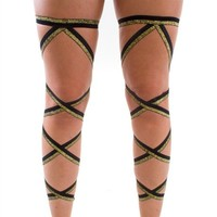 Pair of RaveReady Black and Glitter Gold Leg Wraps : Rave Fluffies Wraps