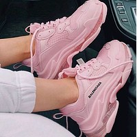 Balenciaga Hot Fashion Retro Transparent Thick-soled Daddy Shoes Pink