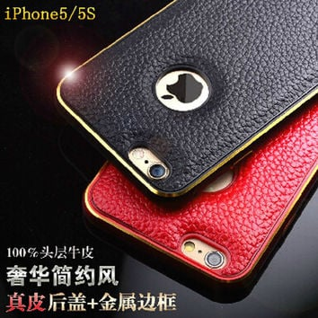 NEW Leather and metallic Cover Case For iPhone 5 5S