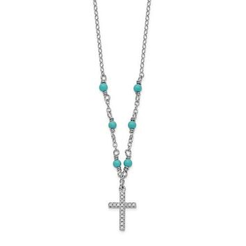 Sterling Silver CZ And Synthetic Turquoise Cross Pendant Necklace