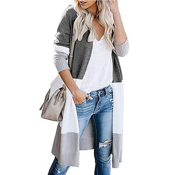 TEMOFON Women Open Front Cardigan Long Sleeve Casual Knit Lightweight Color Block Long Cardigans Sweater Coats S-XL