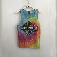 Harley Davidson shirt 80s vintage t shirt Harley tank top rainbow tie dye tshirt 80s clothing destroyed Harley tee muscle tank medium