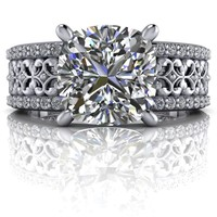 Diamond Engagement Ring Wide Band - Forever One Moissanite -Customize Your Ring
