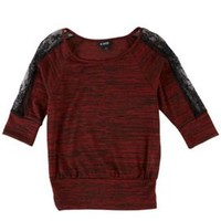 A. Byer Juniors Lace Trim Space Dyed Top | Bealls Florida