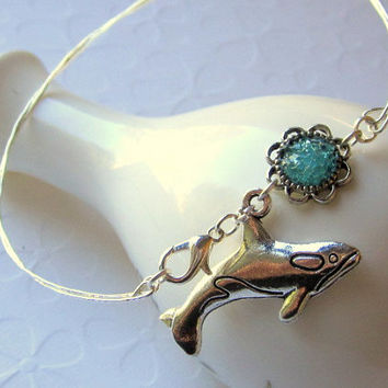 Whale Anklet Ankle Bangle Stacking Anklet Killer Whale Jewelry Orka Anklet Blue Whale Big Fish Bangle Bracelet Ruby Red Druzy Bangle