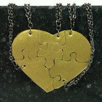 Heart Shaped Puzzle Necklaces Set of 5 Interlocking Necklaces Antique Gold Polymer Clay