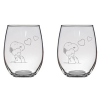 Snoopy Hugging Hearts Engraved Glasses Peanuts Charlie Brown Gift