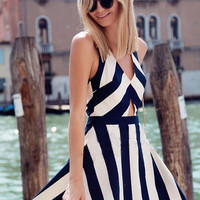 Black and White Striped Sleeveless V-neck Cut-Out A-Line Pleated Mini Dress
