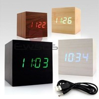 Modern Wooden Wood Cube USB/AAA Style Voice Digital Alarm Clock LED Display [8833998924]