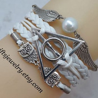 Harry Potter Deathly Hallows Bracelet harry potter jewelry Wings Bracelet Owls Bracelet White Braided Leather Friendship gift Personalized