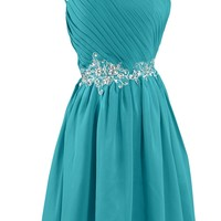 Sunvary Embroidery Waist Bridesmaid Dress Homecoming Dresses for Juniors Short- US Size 14- Royal Blue