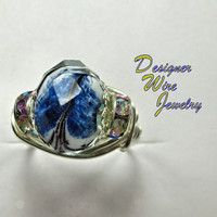 DWJ0236 Beautiful Blue Mist Faceted Czech Glass Silver Wire Wrap Ring All Sizes