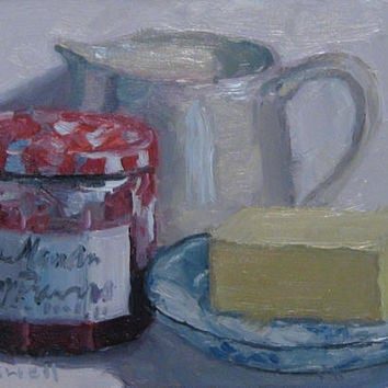 Kitchen Painting Still Life  Original Oil Painting White Pitcher Blue and White Plate  Textured Modern Impressionist Jennifer Boswell