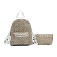 """COACH "" Fashion Hot Women's Casual Travel Print Backpack White"
