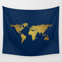 Navy + Gold Decor, World Map Wall Tapestry, Wall Hanging, World Map Decor, Home Decor, World Map Art, Map of the World, Dorm Tapestry